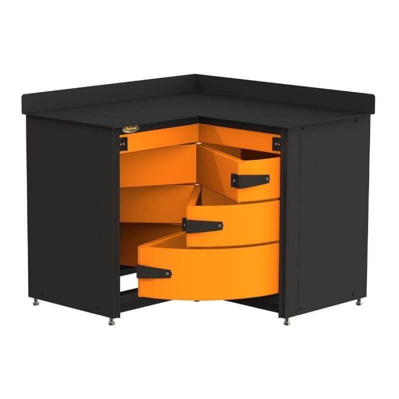 Swivel Storage Solutions PRO 81 Modular Series 4-Drawer Stationary Corner Storage Unit Directly from the Front Showing Drawer Configuration with All Drawers Opened
