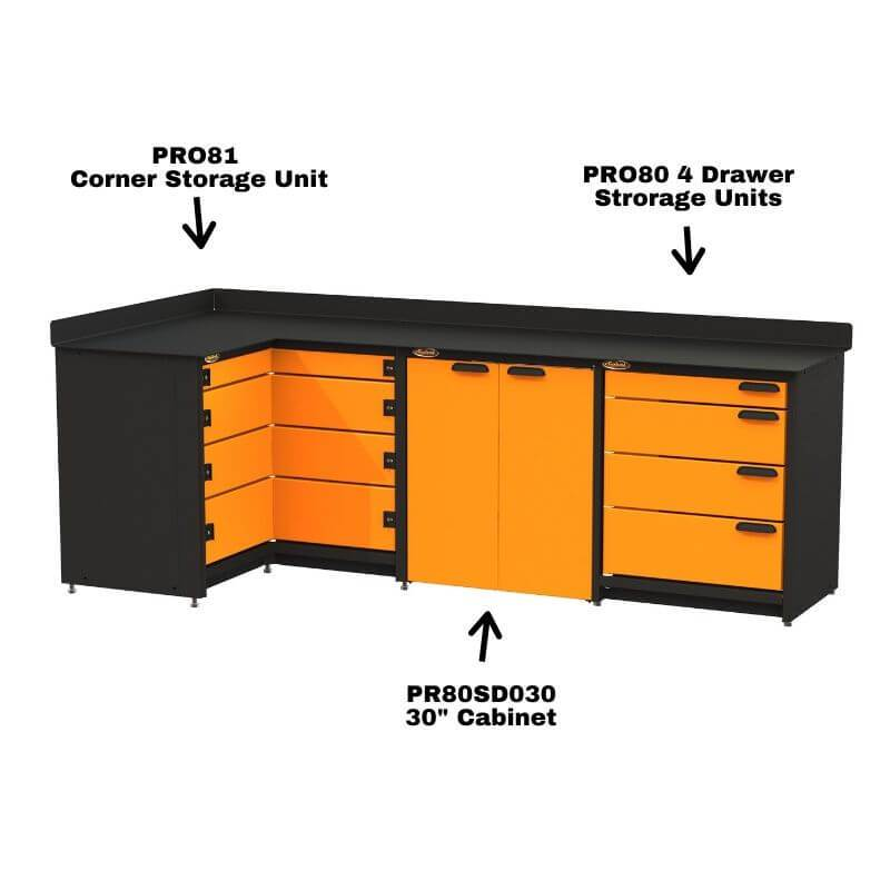 "Swivel Storage Solutions PRO 81 Modular Series 4-Drawer Stationary Corner Storage Unit Shown Combined With PRO80 4 Drawer Unit with 30"" Cabinet"