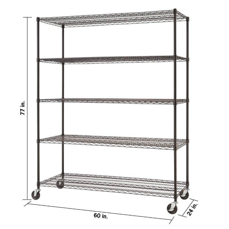 Trinity TBF-0931 (60x24x72) Basics 5-Tier Black Anthracite Wire Shelving w/ Wheels shown with empty shelves and view from the front right with overview of height, width and depth dimensions.