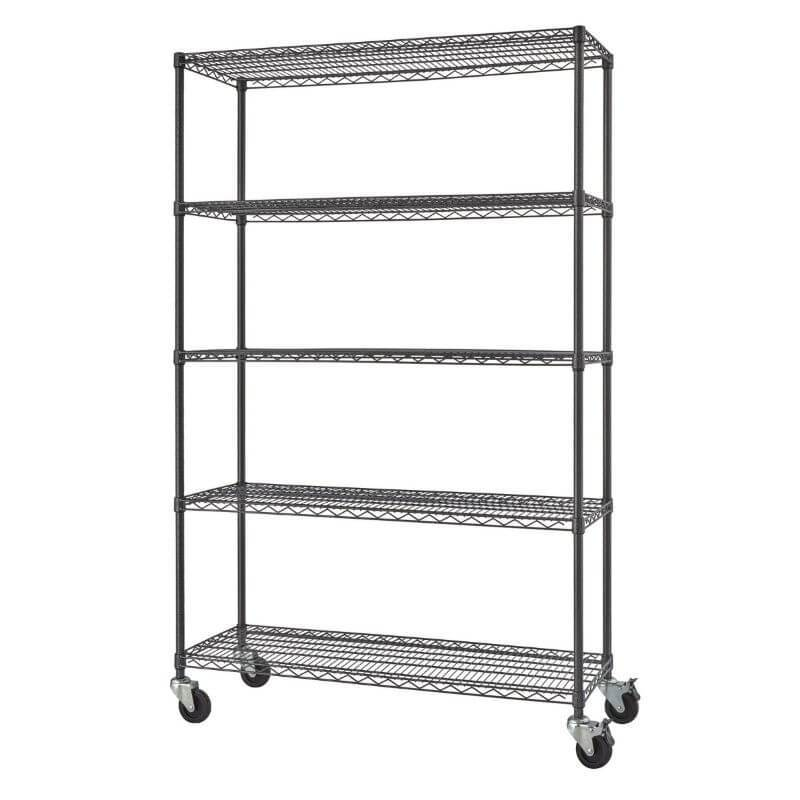 Trinity TBFPBA-0924 (48x18x72) PRO 5-Tier Wire Shelving w/ Wheels in Black Anthracite Color. Shown with empty shelves and view from the front right.