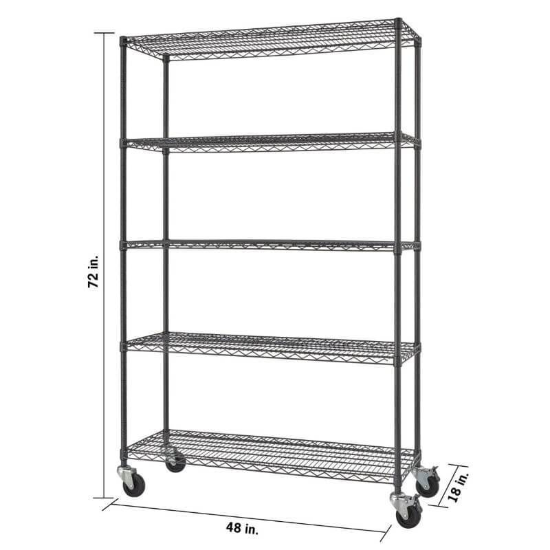 Trinity TBFPBA-0924 (48x18x72) PRO 5-Tier Wire Shelving w/ Wheels in Black Anthracite Color. Shown with empty shelves and view from the front right with verview of height, width and depth dimensions.