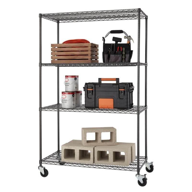 Trinity TBFPBA-0925 (48x24x72) PRO 4-Tier Wire Shelving w/ Wheels in Black Anthracite Color. Shown with common garage, tools and contruction equipment. View from the front right.