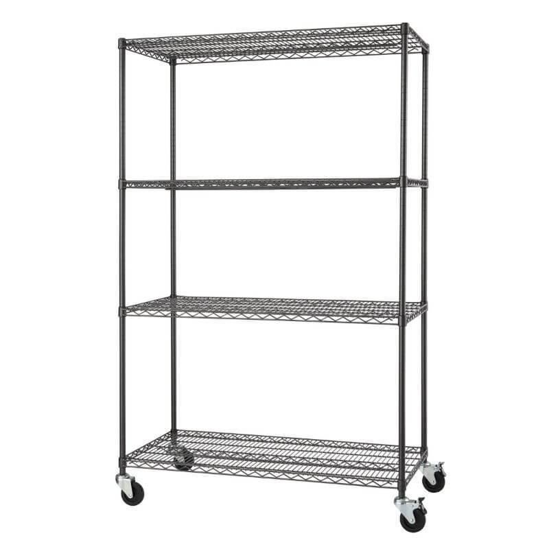 Trinity TBFPBA-0925 (48x24x72) PRO 4-Tier Wire Shelving w/ Wheels in Black Anthracite Color. Shown with shelves empty and viewed from the front right.