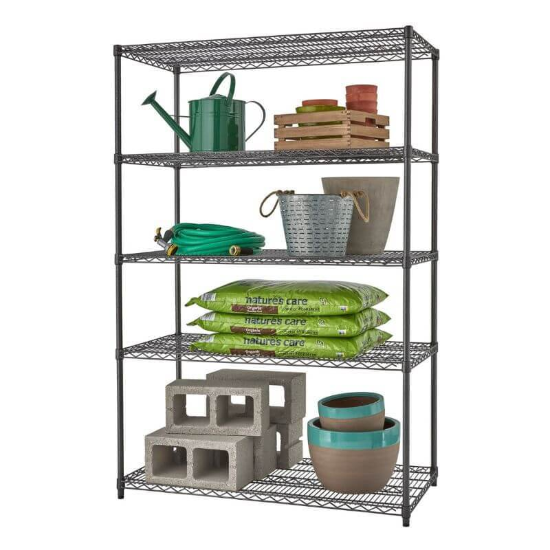 Trinity TBFPBA-0926 (48x24x72) PRO 5-Tier Wire Shelving in Black Anthracite Color with common gardening supplies and equipment. Viewed from front right.