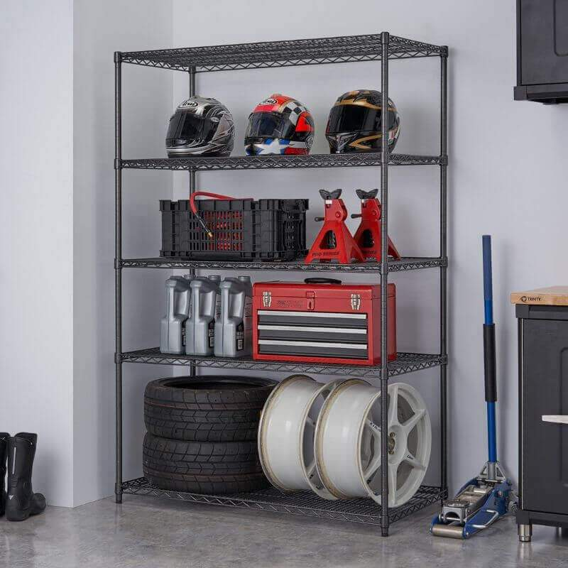 Trinity TBFPBA-0926 (48x24x72) PRO 5-Tier Wire Shelving in Black Anthracite Color with Common Garage & Automotive Supplies. Viewed from front right.