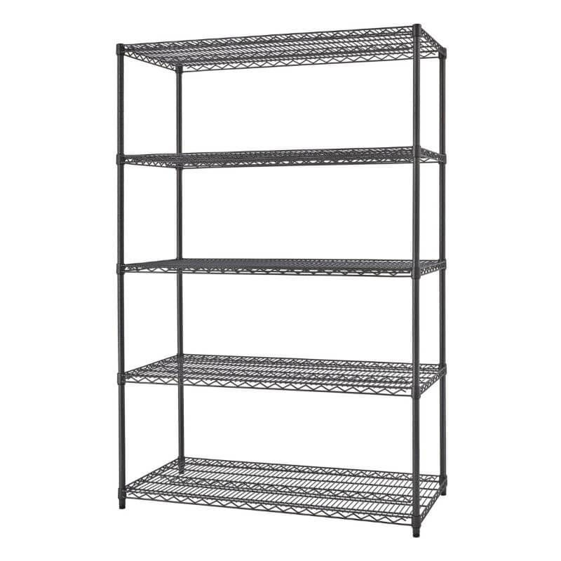 Trinity TBFPBA-0926 (48x24x72) PRO 5-Tier Wire Shelving in Black Anthracite Color Shown Empty and Viewed from front right.