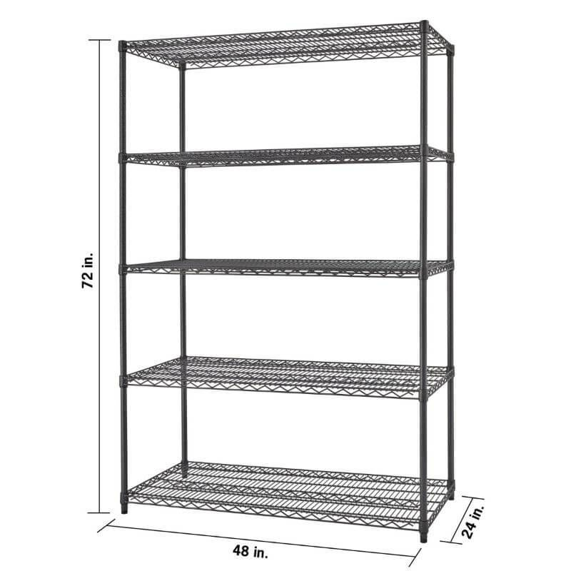 Trinity TBFPBA-0926 (48x24x72) PRO 5-Tier Wire Shelving in Black Anthracite Color Shown Empty, Viewed from front right with overview of dimensions.
