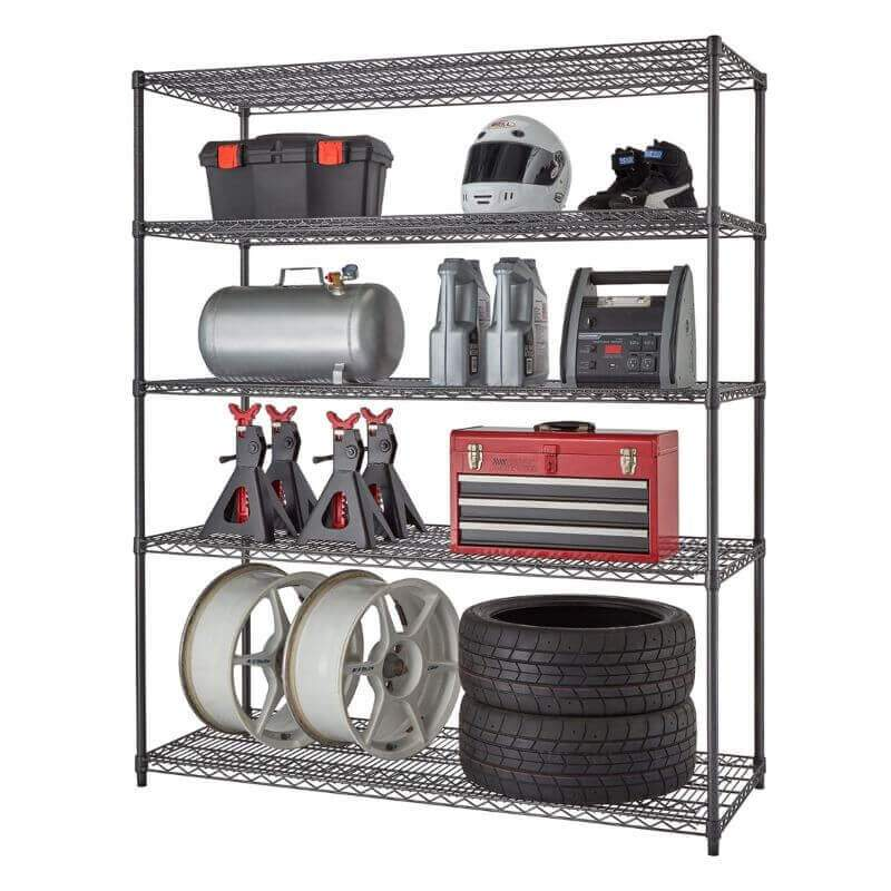 Trinity TBFPBA-0928 (60x24x72) PRO 5-Tier Wire Shelving in Black Anthracite Color Shown with Common Garage & Automotive Supplies viewed from the Front Right.