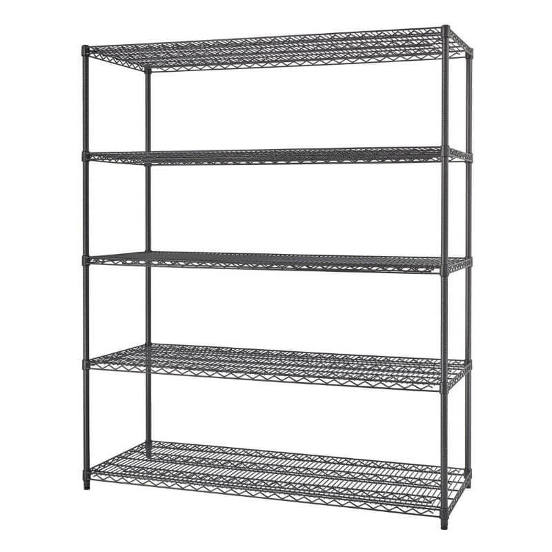 Trinity TBFPBA-0928 (60x24x72) PRO 5-Tier Wire Shelving in Black Anthracite Color Shown Empty viewed from the Front Right.