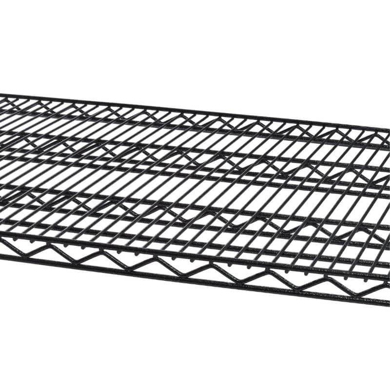 Trinity TBFPBA-0928 (60x24x72) PRO 5-Tier Wire Shelving in Black Anthracite Color Close-Up of Shelves