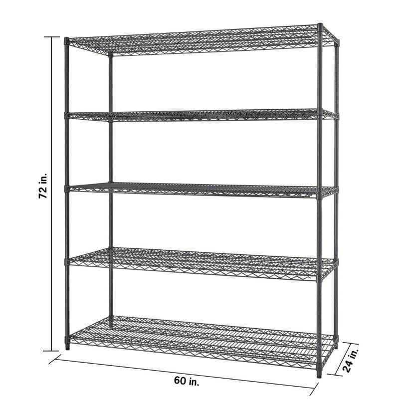Trinity TBFPBA-0928 (60x24x72) PRO 5-Tier Wire Shelving in Black Anthracite Color Close-Up of Shelf connections and how shelf can be vertically adjusted by 1-inch increments.
