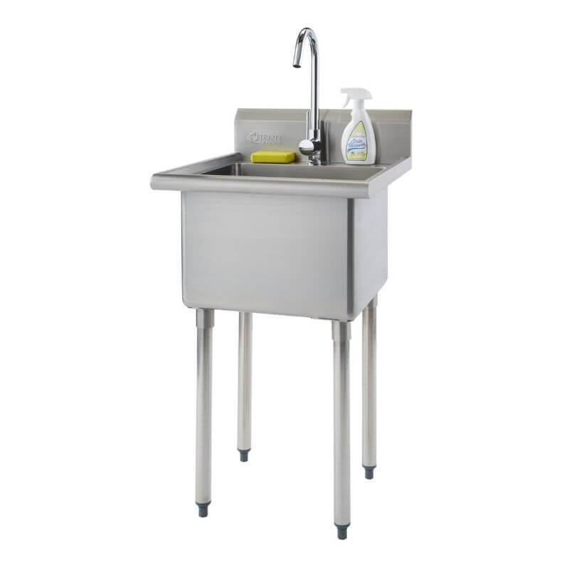 Trinity THA-0307 Basics Stainless Steel Utility Sink w/ Faucet view from front right with white background