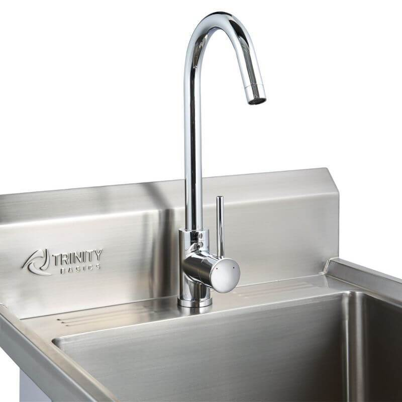 Trinity THA-0307 Basics Stainless Steel Utility Sink w/ Faucet Close Up of the Faucet.