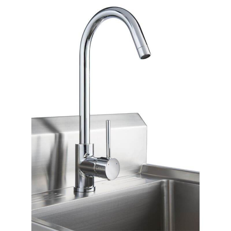 Trinity THA-0307 Basics Stainless Steel Utility Sink w/ Faucet Close Up of the Faucet Viewed from the left