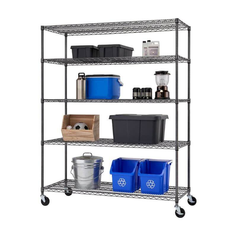 Trinity TIJPBA-0904 (60x24x72) 5-Tier Wire Shelving w/ Wheels in Black Anthracite Color Shown with Common Household Cleaning Supplies and Equipment. Viewed from the front right.