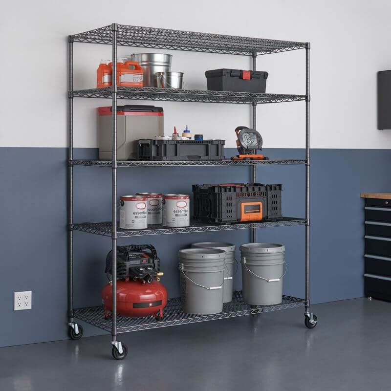 Trinity TIJPBA-0904 (60x24x72) 5-Tier Wire Shelving w/ Wheels in Black Anthracite Color Shown with Common Garage and Automotive Supplies and Equipment. Viewed from the front right.