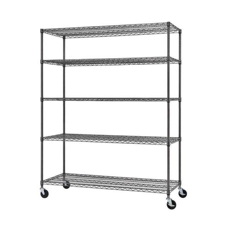 Trinity TIJPBA-0904 (60x24x72) 5-Tier Wire Shelving w/ Wheels in Black Anthracite Color Shown Empty and Viewed from the front right.