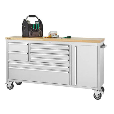 Trinity TLS-4813 (66x19) Stainless Steel Rolling Workbench with Worktop Being Used. Viewed from the Front Right.