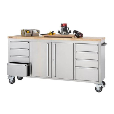 Trinity TLS-7204 (72x19) Stainless Steel Rolling Workbench with White Background. Bottom left drawer oepned and worktop is being used for renovation tools.