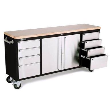 Trinity TLS-7205 (72x19) Black & Stainless Steel Rolling Workbench with right drawers opened. White background.