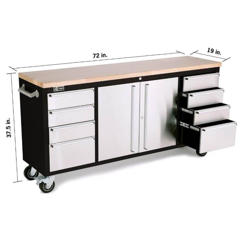 Trinity TLS-7205 (72x19) Black & Stainless Steel Rolling Workbench Shown in White Background with Overview of Width, Height and Depth.