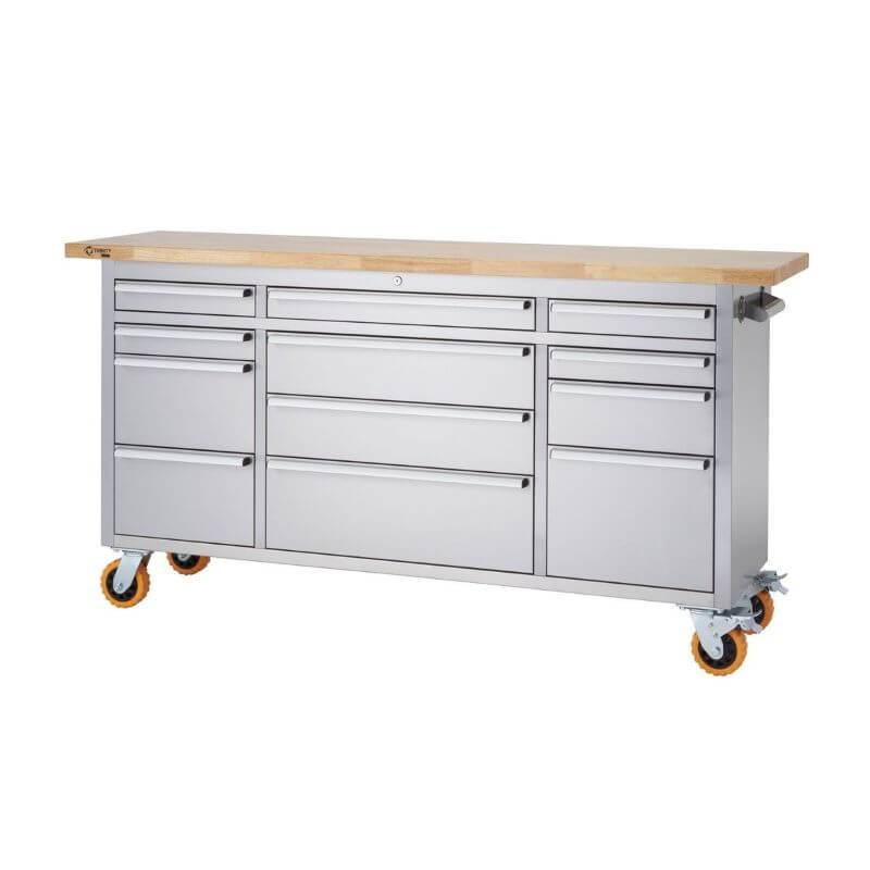 Trinity TLSF-7209 (72x19) PRO Stainless Steel Rolling Workbench With an Empty Worktop and Drawers Closed. Viewed from Front Right and White Background.
