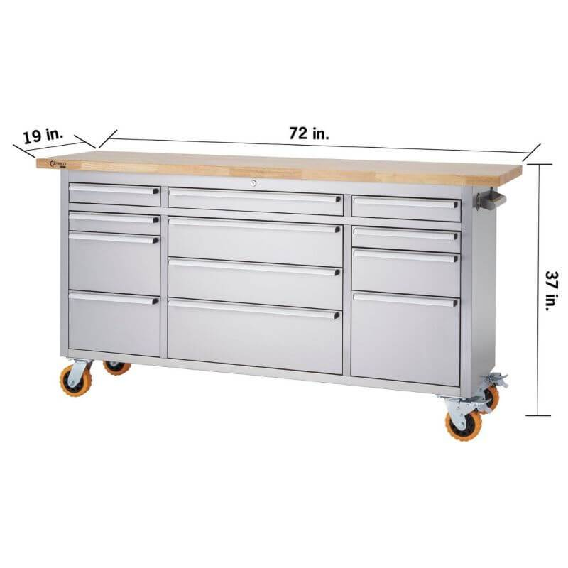 Trinity TLSF-7209 (72x19) PRO Stainless Steel Rolling Workbench With an Empty Worktop and Drawers Closed. Viewed from Front Right and White Background with Overview of Width, Height and Depth.