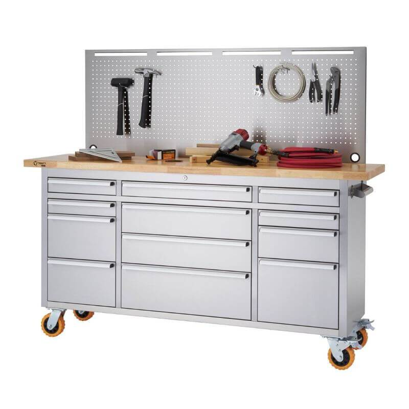 Trinity TLSF-7210 (72x19) PRO Stainless Steel Rolling Workbench w/ Pegboard. Has building/Construction Tools on the Worktop and Pegboard. White Background.