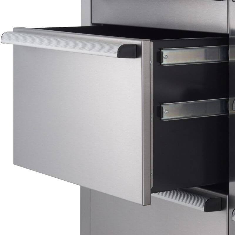 Trinity TLSF-7210 (72x19) PRO Stainless Steel Rolling Workbench Close-Up of Drawers.