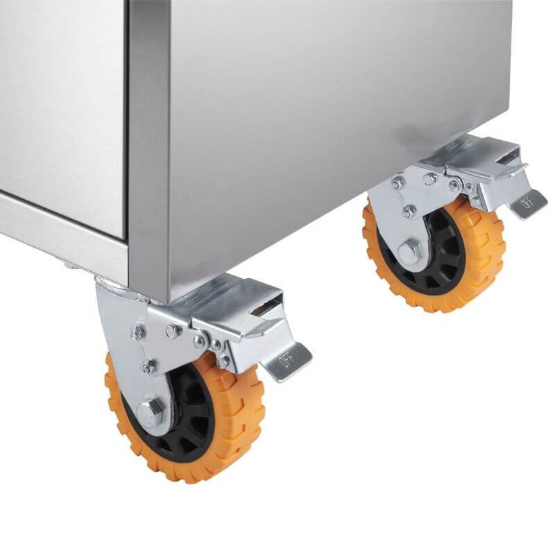 Trinity TLSF-7210 (72x19) PRO Stainless Steel Rolling Workbench Close-Up of Casters with Brakes.