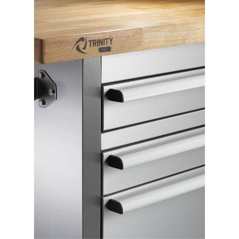 Trinity TLSF-7210 (72x19) PRO Stainless Steel Rolling Workbench Close-Up of Worktop.