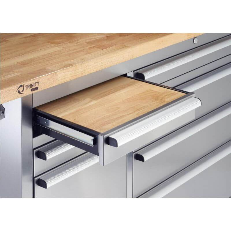 Trinity TLSF-7210 (72x19) PRO Stainless Steel Rolling Workbench Close-Up of Drawer Wood Top.