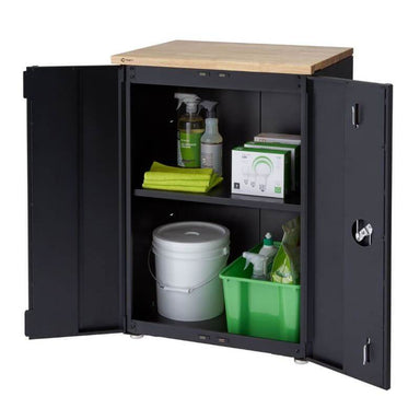 Trinity TLSPBK-0603 (24 in.) Garage Base Cabinet in Black Viewed from Front Right with Drawer Opened and Revealing Cleaning Supplies.