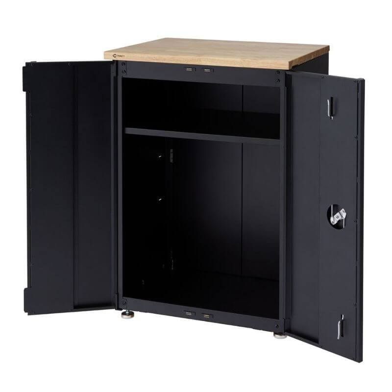 Trinity TLSPBK-0603 (24 in.) Garage Base Cabinet in Black Viewed from Front Right with Drawer Opened and Revealing Empty Cabinet.