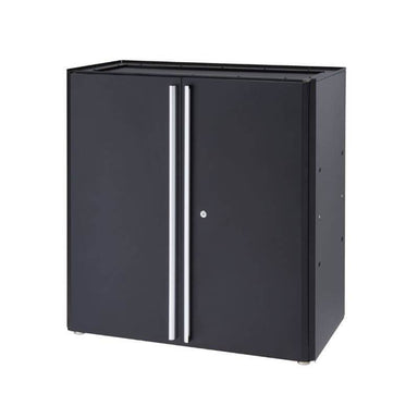Trinity TLSPBK-0605 (36 in.) Garage Modular Cabinet in Black with Drawers Closed.