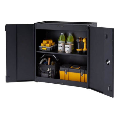 Trinity TLSPBK-0605 (36 in.) Garage Modular Cabinet in Black with Drawers Opened Showing Tool Boxes and Tools.