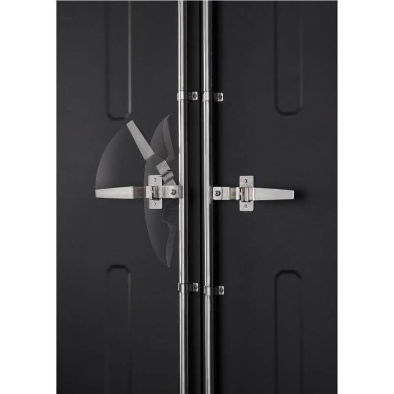 Trinity TSNPBK-0615 (4-Piece) PRO Garage Cabinet Set in Black Close Up of Movement of the Door Latch.