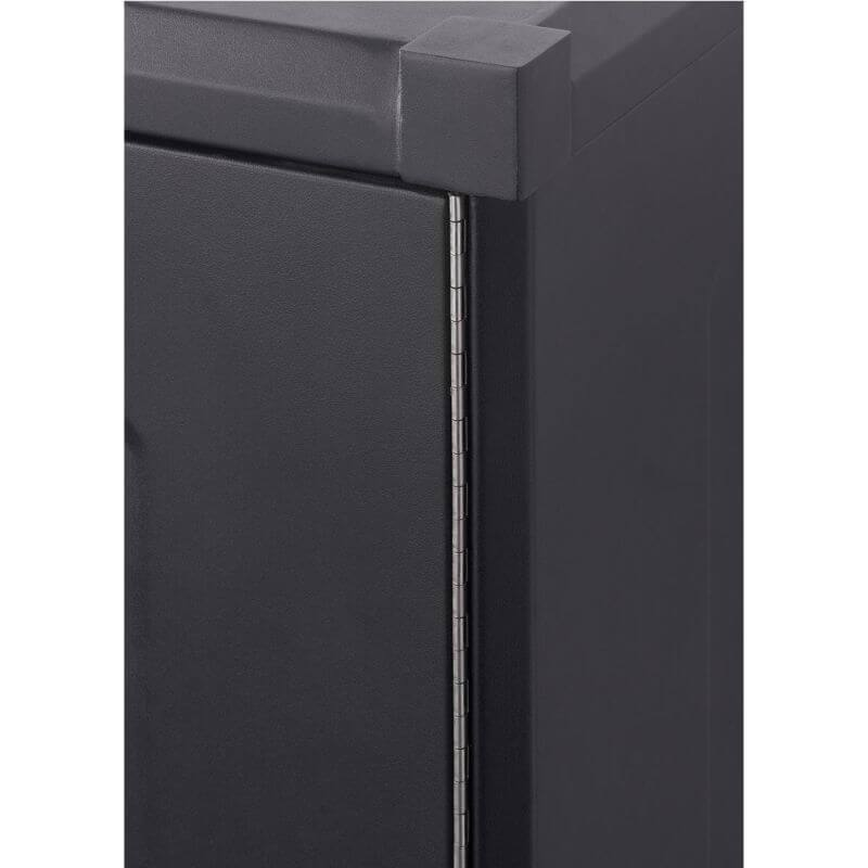 Trinity TSNPBK-0615 (4-Piece) PRO Garage Cabinet Set in Black Close Up of Cabinet Door Hinges on the Outside