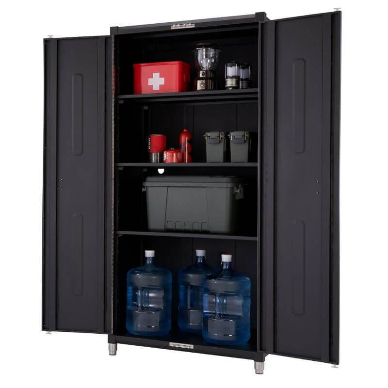 Trinity TSNPBK-0615 (4-Piece) PRO Garage Cabinet Set in Black Close Up of the Tall Cabinet with Cabinet Doors Opened.