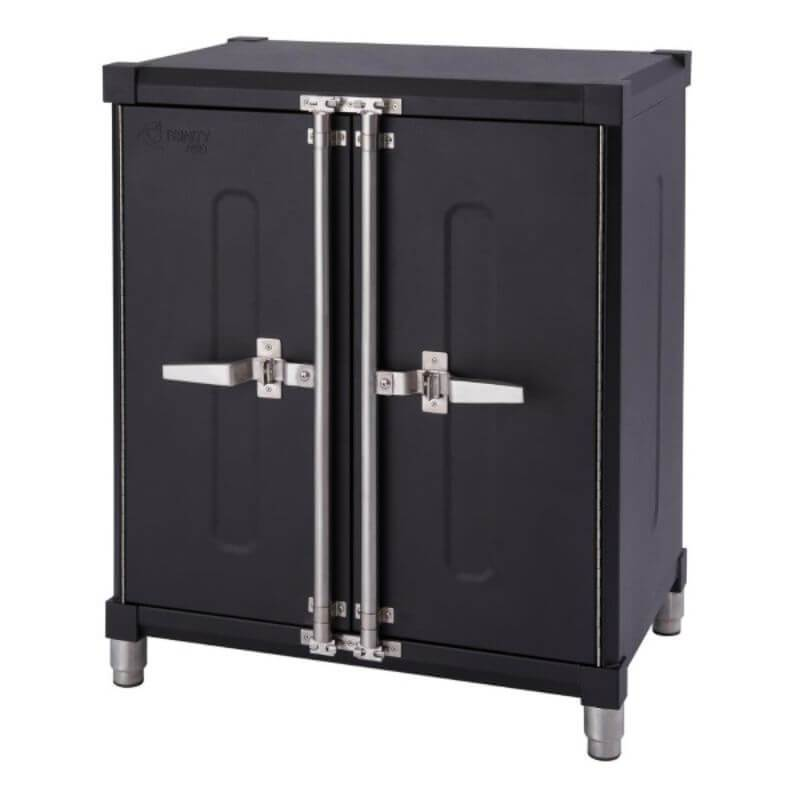 Trinity TSNPBK-0615 (4-Piece) PRO Garage Cabinet Set in Black Close Up of the Base Cabinet with Drawers Closed.