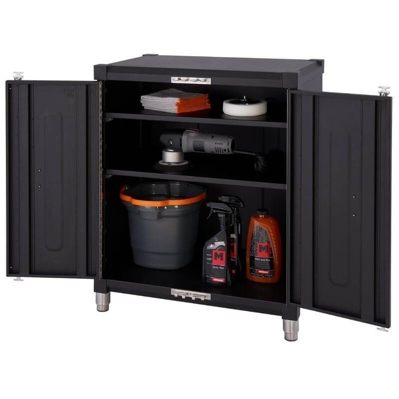 Trinity TSNPBK-0615 (4-Piece) PRO Garage Cabinet Set in Black Close Up of the Base Cabinet with Drawers Opened.