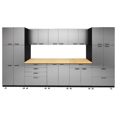 "Hercke HC-Kit 1-S72 (24""D x 150""W x 84""H) Double Work Center Garage Cabinet System in stainless steel finish shown in front view."
