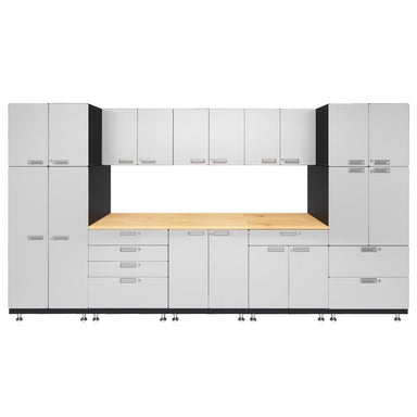 "Hercke HC-Kit 1-S73 (24""D x 150""W x 84""H) Double Work Center Garage Cabinet System in powder coat finish shown in front view."
