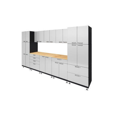 "Hercke HC-Kit 1-S73 (24""D x 150""W x 84""H) Double Work Center Garage Cabinet System in powder coat finish shown in side view."