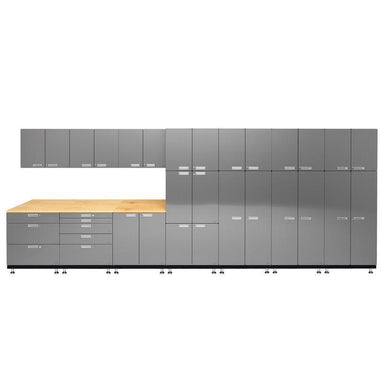 "Hercke HC-Kit 2-S72 (24""D x 210""W x 84""H) Locker Wall Work Center Cabinet System in stainless steel finish shown in front view."