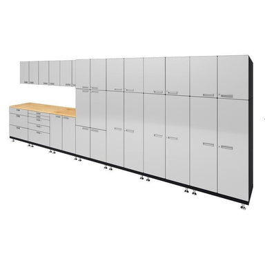 "Hercke HC-Kit 2-S73 (24""D x 210""W x 84""H) Locker Wall Work Center Cabinet System in powder coat finish shown in side view."