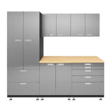 "Hercke HC-Kit 3-S72 (24""D x 90""W x 84""H) Work Center Garage Cabinet System in stainless steel finish shown in front view."