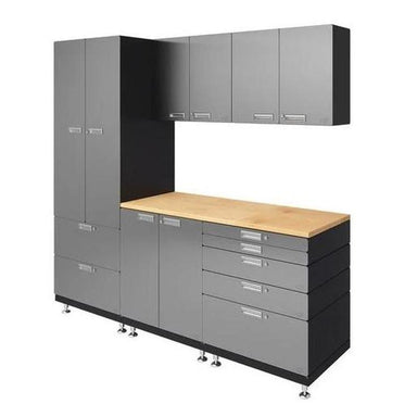 "Hercke HC-Kit 3-S72 (24""D x 90""W x 84""H) Work Center Garage Cabinet System in stainless steel finish shown in side view."