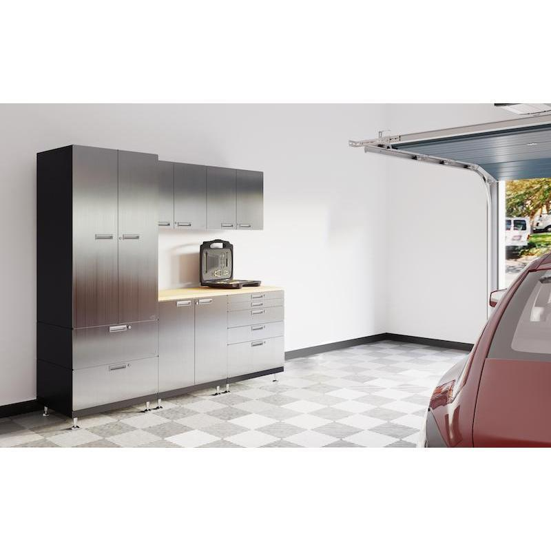 "Hercke HC-Kit 3-S72 (24""D x 90""W x 84""H) Work Center Garage Cabinet System in stainless steel finish shown in side view in a garage."