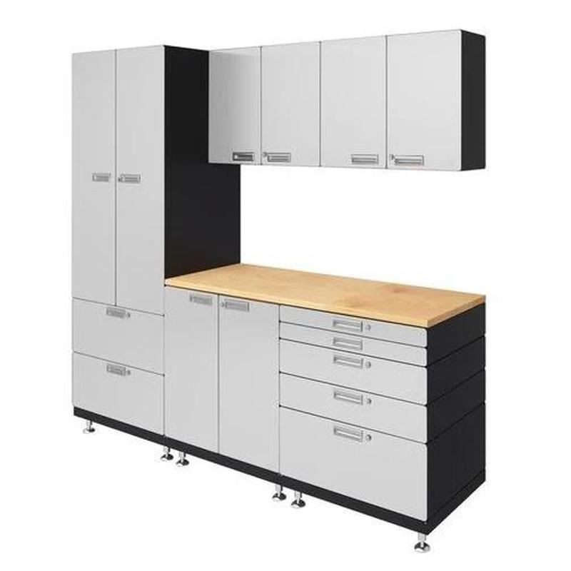"Hercke HC-Kit 3-S73 (24""D x 90""W x 84""H) Work Center Garage Cabinet System in powder coat finish shown in side view."